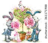 Cute Bunny Rabbit. Valentines...