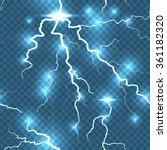 lightning flash detailed strike ... | Shutterstock .eps vector #361182320