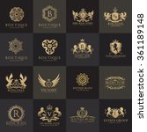 Luxury Logo set with Heraldic crests and Flourishes Calligraphic Monogram design for hotel,Spa,Restaurant,VIP,Fashion and Premium brand identity. | Shutterstock vector #361189148