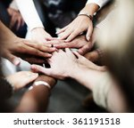 team teamwork join hands... | Shutterstock . vector #361191518