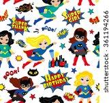 seamless superhero girls...   Shutterstock . vector #361194266