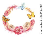 wreath of flowers butterflies... | Shutterstock . vector #361194800
