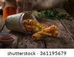 Spring Rolls On Rustic Wooden...