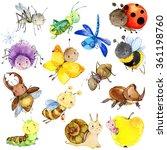 funny   watercolor   cartoon... | Shutterstock . vector #361198760