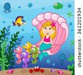 mermaid swims in the seashell   ... | Shutterstock .eps vector #361201934