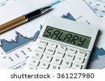 salary displayed on calculator | Shutterstock . vector #361227980