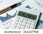 salary displayed on calculator | Shutterstock . vector #361227980