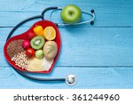 food on heart plate with... | Shutterstock . vector #361244960