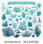 Vector Set Of Sea Animals  ...