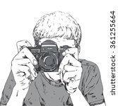 drawing of young photographer... | Shutterstock .eps vector #361255664