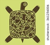 decorative brown turtle with...   Shutterstock .eps vector #361256006