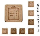 set of carved wooden task list...