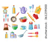 Kitchen Tools Colorful Vector...