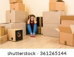 frightened woman sitting among... | Shutterstock . vector #361265144