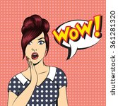 pop art surprised woman face... | Shutterstock . vector #361281320