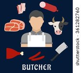 butcher man in white apron with ... | Shutterstock .eps vector #361282760