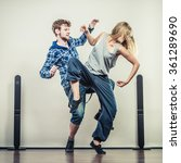 two modern dancers couple woman ... | Shutterstock . vector #361289690