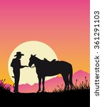 cowboy with saddled horse at... | Shutterstock .eps vector #361291103