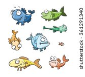 Cute Cartoon Fishes Set  Of The ...