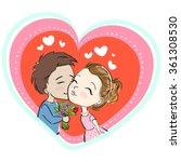 cute couple in love  kiss ... | Shutterstock . vector #361308530