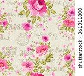 roses  floral wallpaper | Shutterstock .eps vector #361311800