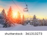 sunset in winter landscape  in... | Shutterstock . vector #361313273