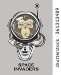 monkey astronaut. alien invader.... | Shutterstock .eps vector #361313489