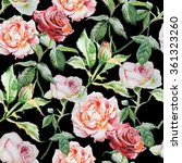 Stock photo seamless pattern with watercolor roses hand drawn 361323260