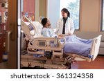 female doctor talking to male... | Shutterstock . vector #361324358