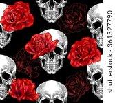 skull and red roses on black... | Shutterstock .eps vector #361327790
