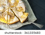 Cutted Pineapple Pie On Baking...