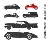Stock vector vector illustration with black retro car silhouette 361338410