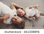little sister hugging her...   Shutterstock . vector #361338896