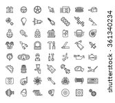 car parts line icons set. auto...