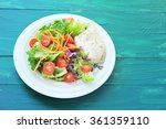 fresh salad with chicken breast ... | Shutterstock . vector #361359110