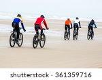 Mountain Bike Race On A Beach