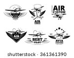 Air Plane Emblems Vector Label...