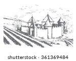 fortress and vineyard. vector. | Shutterstock .eps vector #361369484