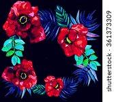 poppy wreath  flowers design | Shutterstock . vector #361373309