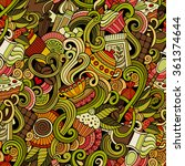 cartoon hand drawn doodles on... | Shutterstock .eps vector #361374644