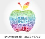mental health apple word cloud  ... | Shutterstock .eps vector #361374719