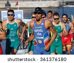 Small photo of STOCKHOLM, SWEDEN - AUG 23, 2015: Close-up of group of running triathletes Bailie, Stel, Hernandez wearing sun glasses in the Men's ITU World Triathlon series event August 23, 2015, Stockholm, Sweden