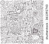 valentine's day sketch pattern. ... | Shutterstock .eps vector #361392743