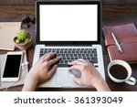 a man is working by using a... | Shutterstock . vector #361393049