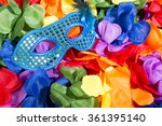 sparkly blue carnival mask sits ... | Shutterstock . vector #361395140