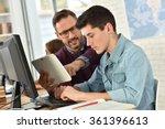 teacher in computing class...   Shutterstock . vector #361396613