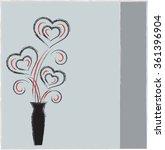 hearts vectors with black vase...   Shutterstock .eps vector #361396904