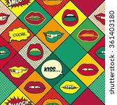 lips pop art seamless pattern | Shutterstock .eps vector #361403180