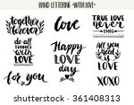 Stock vector quotes valentine lettering love collection hand drawn lettering with beautiful text about love 361408313