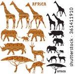Set Of African Animal...